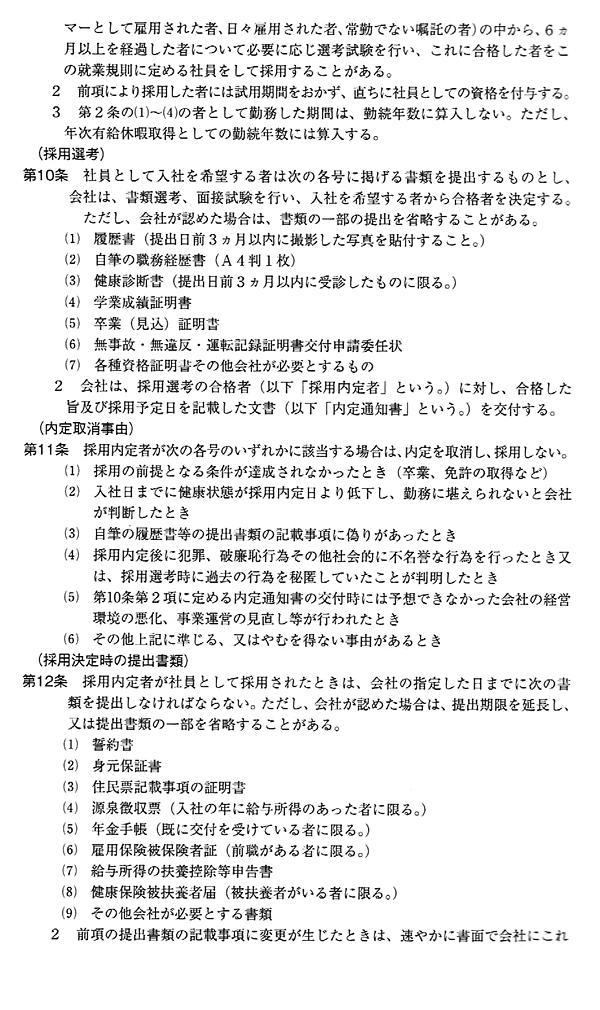 就業規則のサンプルイメージ
